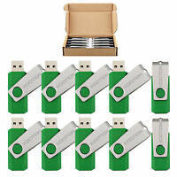 Lot 10 Green Rotating Memory Stick 1gb-8gb Usb 2.0 Flash Drive Folding Thumb Pen