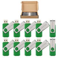 Lot 10 Green Rotating Memory Stick 1gb-8gb Usb 2.0 Flash Drive Folding Thumb Pen