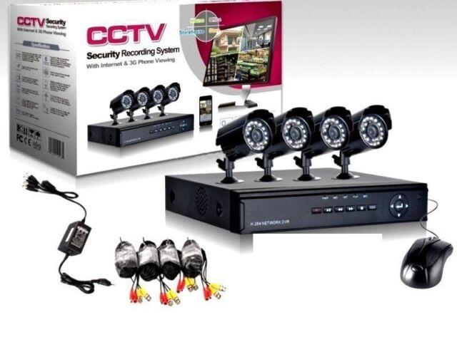 MD09* KIT VIDEOSORVEGLIANZA 4 TELECAMERA INFRAROSSI + DVR + ALIMENTATORE + CAVI