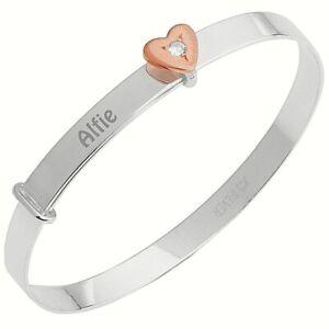Personalised-Baby-Bangle-Christening-Birthday-Bracelet-Rose-Gold-CZ-Heart-Gift