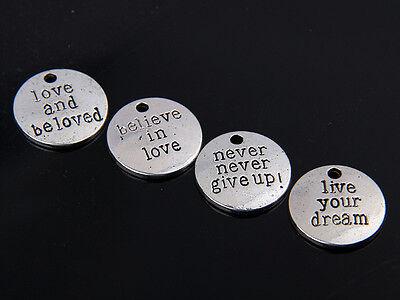 wholesale 12pcs/24pcs/100pcs zinc alloy round believe in love pendants 1A1600