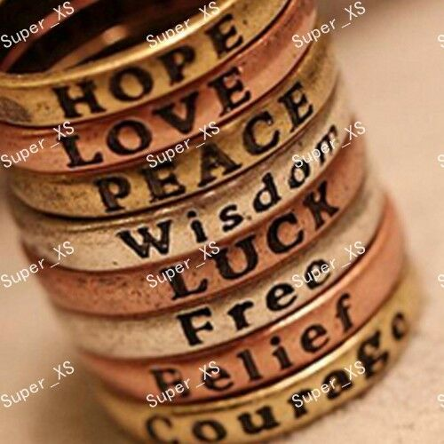 New 15pcs Wholesale lots Hope Love Wisdom Peace Belief Courage Letter Rings Word