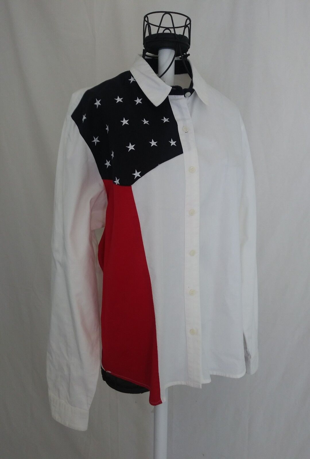 Panhandle Slim Womens Size Large Western Shirt Top Stars & Stripes Button Front