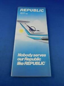 REPUBLIC-AIRLINE-TIMETABLE-SCHEDULE-MARCH-1983-TRAVEL-FLYING-ADVERTISING-VINTAGE