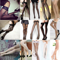Damen Sexy Netz Strümpfe Stockings Halterlos Spitze Nylons Straps Dessous Hot