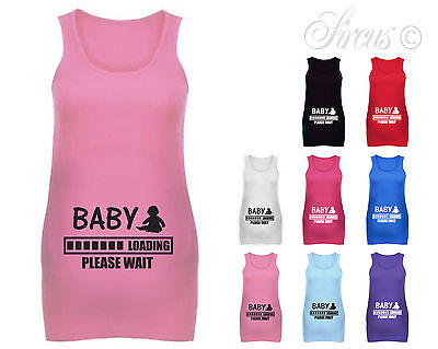 WOMENS BABY LOADING MATERNITY VEST TOP FUNNY PREGNANCY SHIRTS SHOWER GIFTS