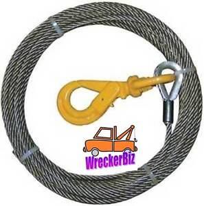 """3/8"""" x 65' WRECKER WINCH CABLE W/ SELF LOCK SWIVEL HOOK, Wrecker, Tow Truck, etc"""