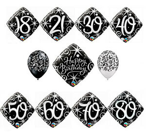 Black Damask Sparkle Balloons Set Anniversary Birthday Party