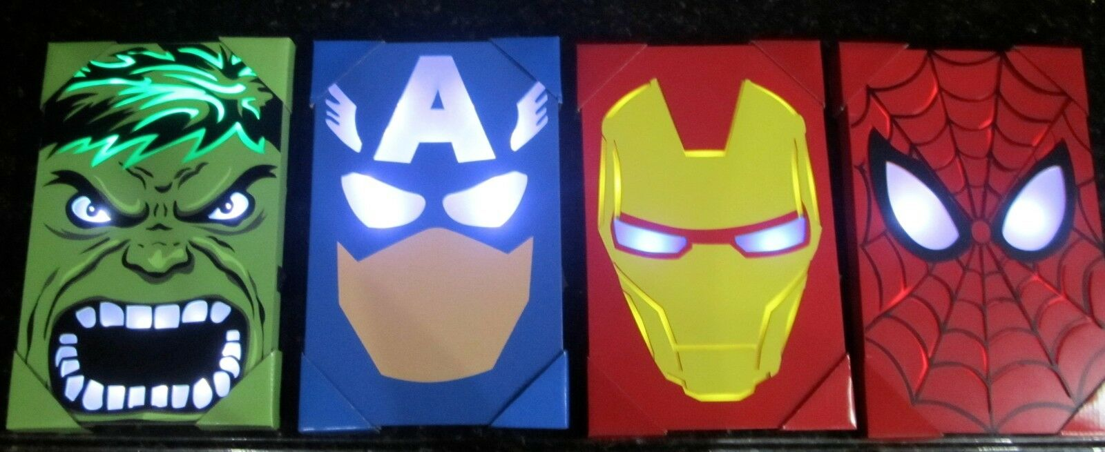 Avengers Wall Lights Hulk Iron Man Captain America Spider-Man 4 IN ALL LIGHT UP