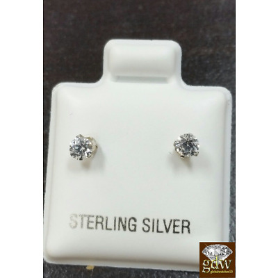 Round Sterling Silver CZ Stud Earrings Prong Setting Push Back 3mm FREE SHIPPING