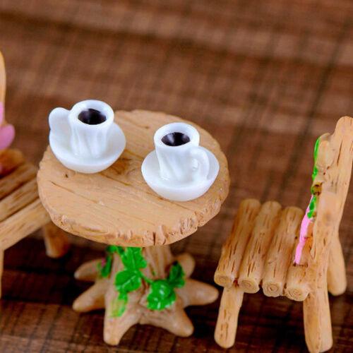 2x Teetasse Harz Miniatur Figurine Garten Puppenhaus Dekor Micro LandschafRSDE