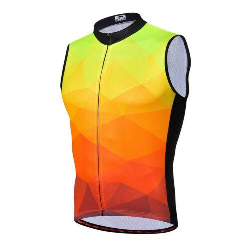 Men/'s Sleeveless Cycling Top Reflective MTB Bike Cycle Vest Shirt Full Zip S-5XL