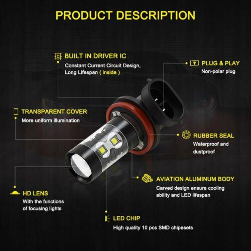 2X H11 H8 CREE 100W High Power LED 6000K White Projector Fog Driving Light Bulbs