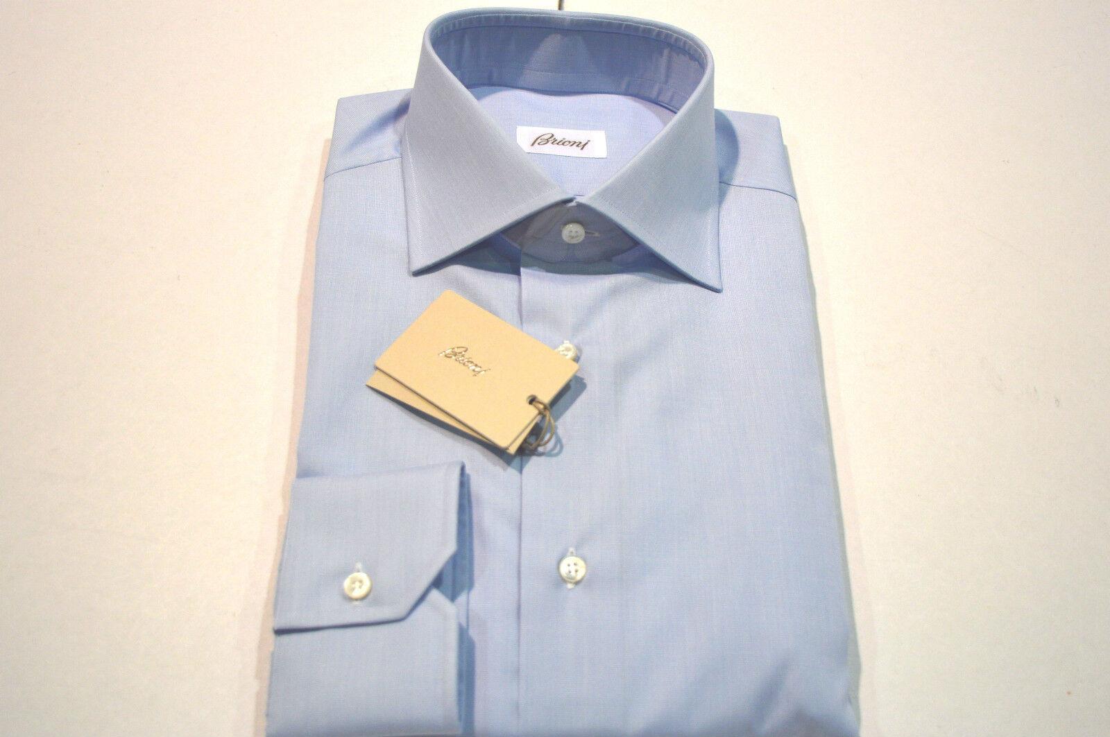 NEW  BRIONI Dress hemd 100% baumwolle Größe 18 Us 46  Eu Blau (Store Code SE6)
