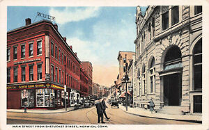Main-St-from-Shetucket-St-Norwich-Connecticut-Early-Postcard-Unused