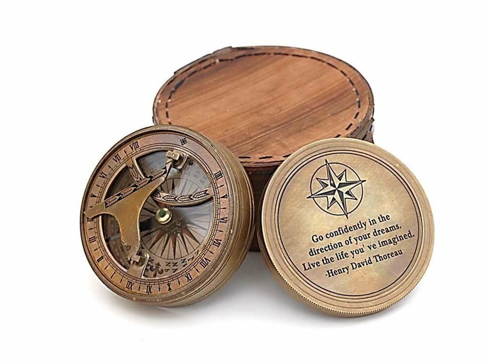 Antique Brass Sundial Compass With Leather Box - Engraved - Go Confidently