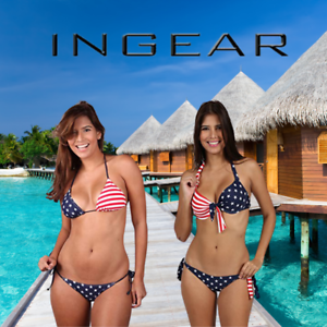 Women's Sexy Bikini Set Halter Padded American Flag Swimsuit Push up 2 Piece set