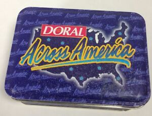 Vintage Collectible Doral  Across America Tin With Four Lighters