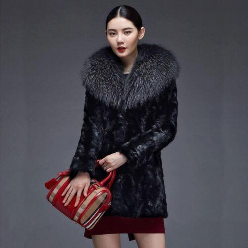 Real 2019 Fox Coat imbottito Giacca Mink Trench Outwear Fur Womens Parka Collar 55wqra
