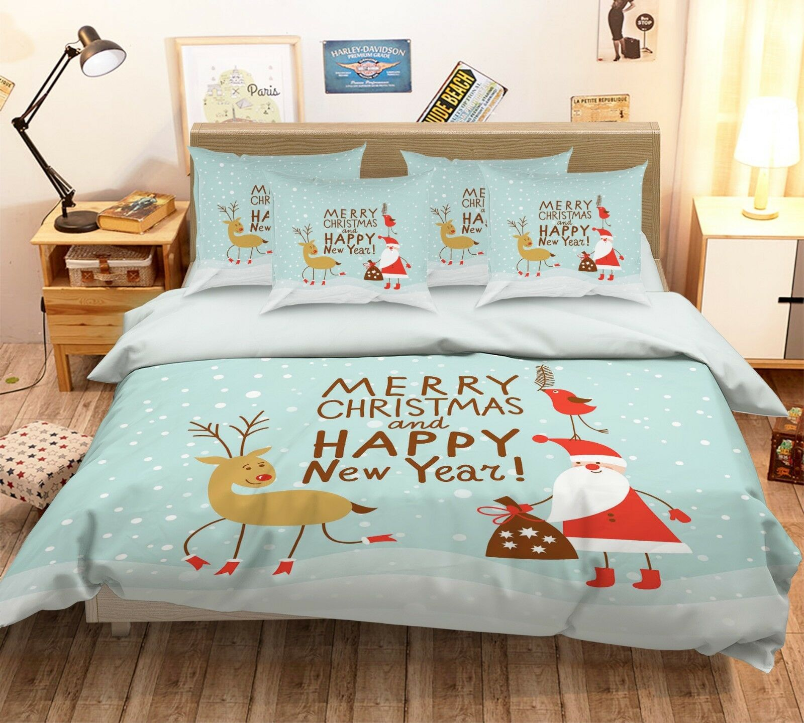 3D Santa Claus 612 Bed Pillowcases Quilt Duvet Cover Set Single Queen King AU