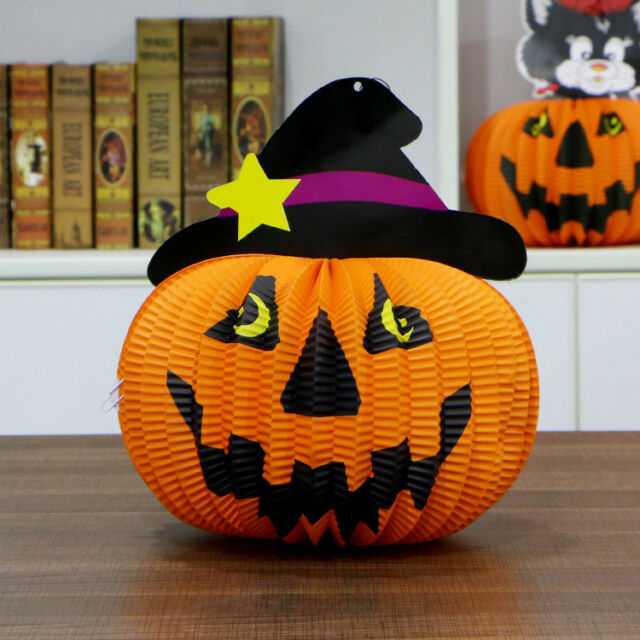Funny Paper Pumpkin Ghost Witch Hanging Lantern Light Lamp