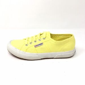 3df634c2aaa3 Image is loading NEW-Superga-Yellow-Canvas-Lace-Up-Sneakers-Womens-