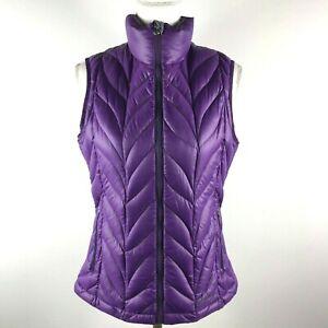 Eddie-Bauer-Womens-M-Purple-Zip-Knit-Pattern-EB700-Down-Fill-Puffer-Vest