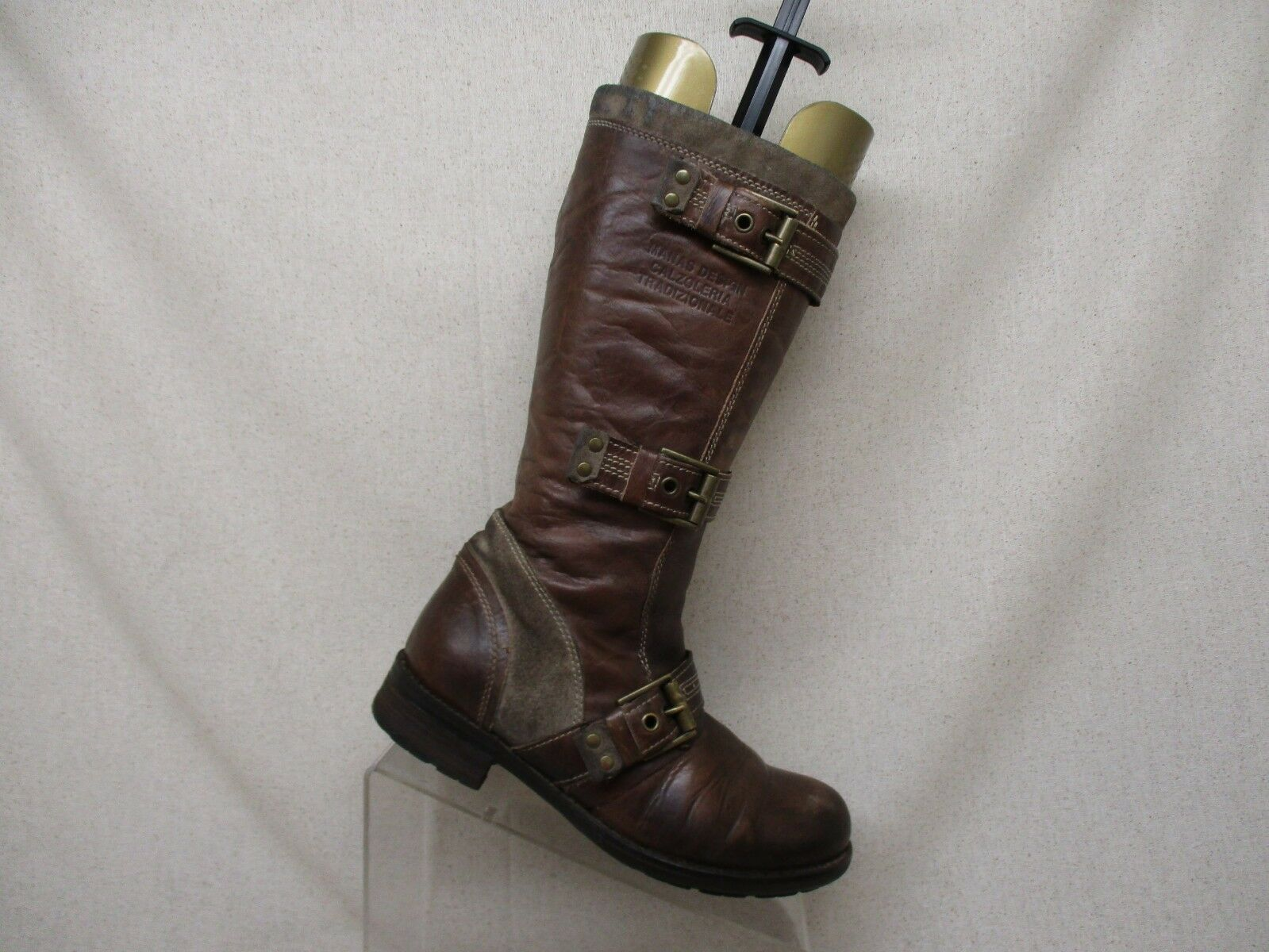 Manas Design Brown Leather Side Zip Buckle Mid Calf Fashion Boots Size 37 EUR
