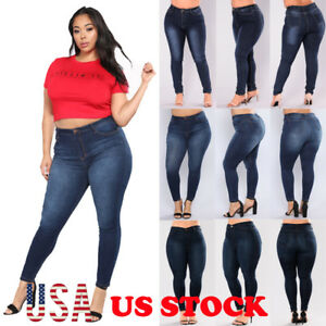 31961c3734523 Image is loading Plus-Size-Womens-High-Waisted-Skinny-Denim-Pants-