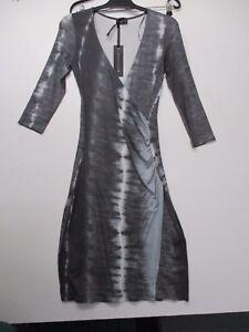 Expresso Elegantes Kleid In Wickel Optik Gau Gemustert Gr Xs 34 Neu Ebay
