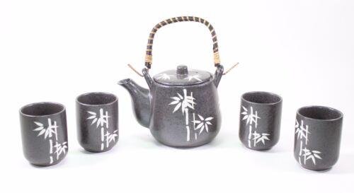 "6/"" Black Bamboo Rattan Japanese Ceramic Tetsubin Teapot Teacups Infuser Tea Set"