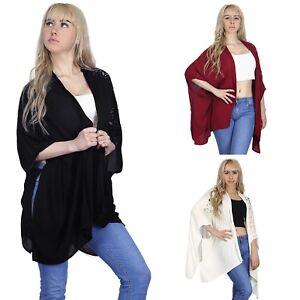 Womens-US-1X-3X-Plus-Size-Kimono-Open-Front-Loose-Lace-Sleeve-Light-Cardigan