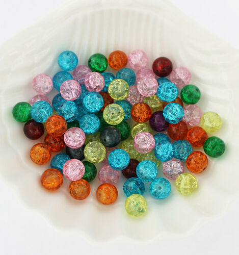 BD086 Assorted Colors BULK 100 Crackle Glass Beads 10mm