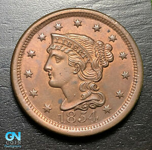 1854-Braided-Hair-Large-Cent-MAKE-US-AN-OFFER-B9224