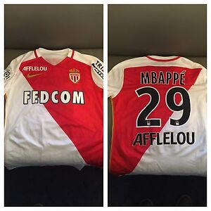 the latest 886f0 aed16 Details about Kylian Mbappé Mbappe AS Monaco MatchWorn-Player Issue  Kit-Shirt-MaillotAuthentic