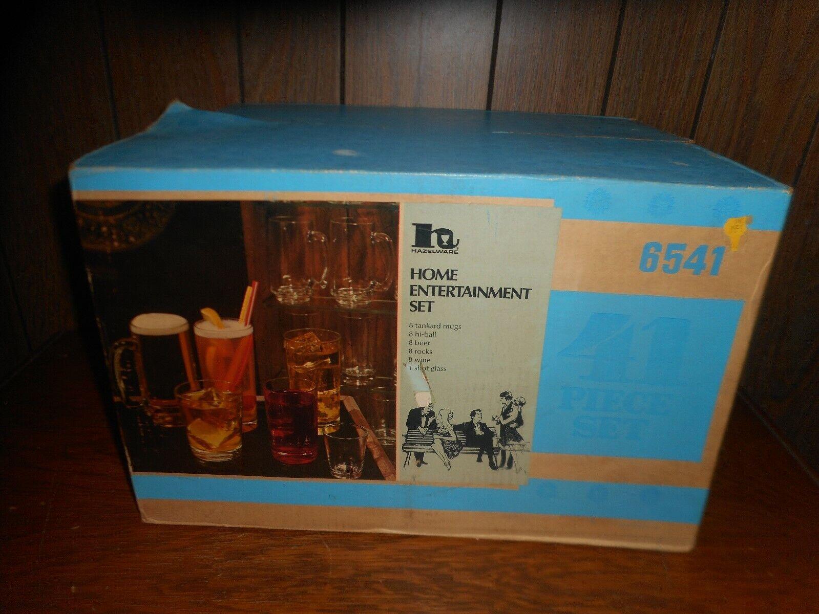 Vintage NOS hazelware 41 Pièce boisson Home cinema set  6541  verrerie