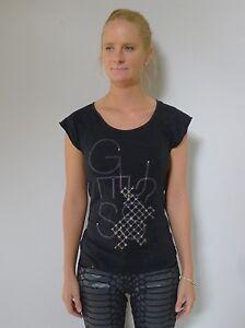 Guess-8-XS-black-cap-sleeves-long-tshirt-top-cotton-designer-excellent