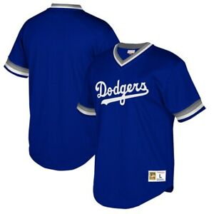 MITCHELL-amp-NESS-Los-Angeles-Dodgers-Mesh-V-Neck-Jersey-sz-L-Large-Blue-MLB