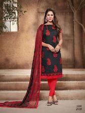 Designer Churidar Salwar Kameez Suit Cotton Dress Material Chanderi Work AKIRA08