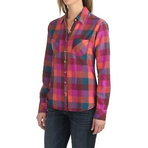 Dickies-Women-039-s-S-NWT-Pink-Oxblood-Papaya-Buffalo-Plaid-Flannel-Shirt