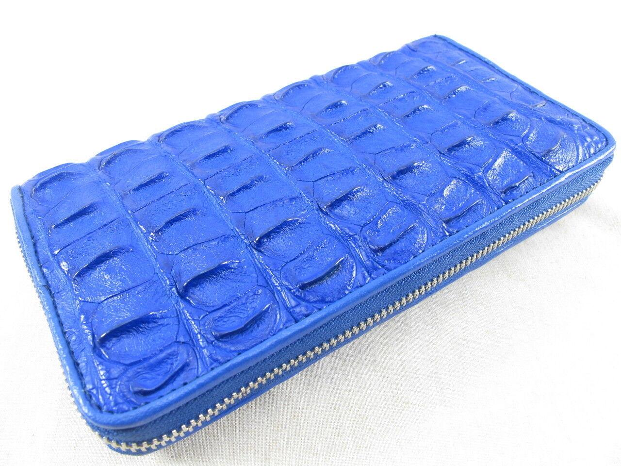 PELGIO Genuine Crocodile Backbone Skin Leather Zip Around Clutch Wallet Blue