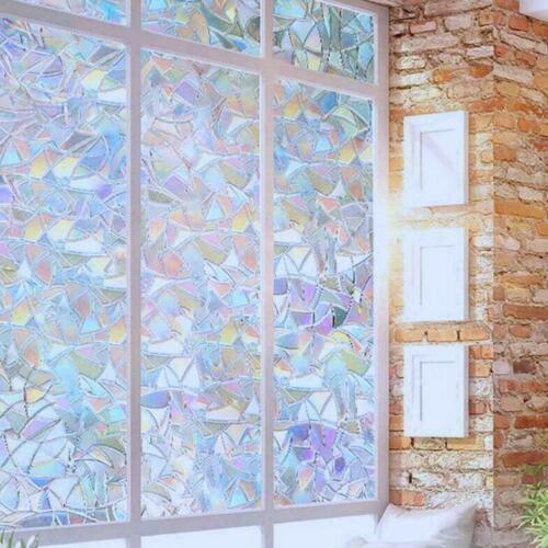 3D Fenster Glasfolie Regenbogenaufkleber gebeizt Anti UV Selbstklebend 3 Größen