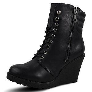 damen stiefeletten keilabsatz stiefel boots wedge high. Black Bedroom Furniture Sets. Home Design Ideas