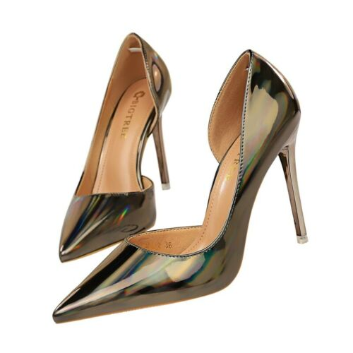 Womens Pointy Toe Metal High Heels Pumps Patent Leather Stiletto Shoes Nightclub