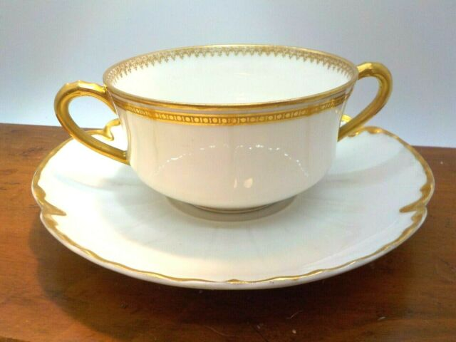 Vintage Limoges Haviland Double Handle Bouillon Cup & Saucer White & Gold