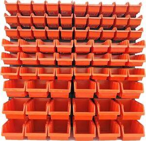 76-teiliges-SET-Lagersichtboxenwand-Stapelboxen-mit-Montagewand-Werkzeugwand