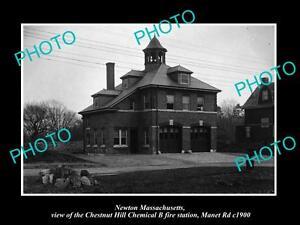 OLD-LARGE-HISTORIC-PHOTO-NEWTON-MASSACHUSETTS-CHESTNUT-HILL-FIRE-STATION-c1900