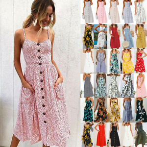 UK-Womens-Holiday-Strappy-Button-Pocket-Ladies-Summer-Beach-Midi-Swing-Sun-Dress