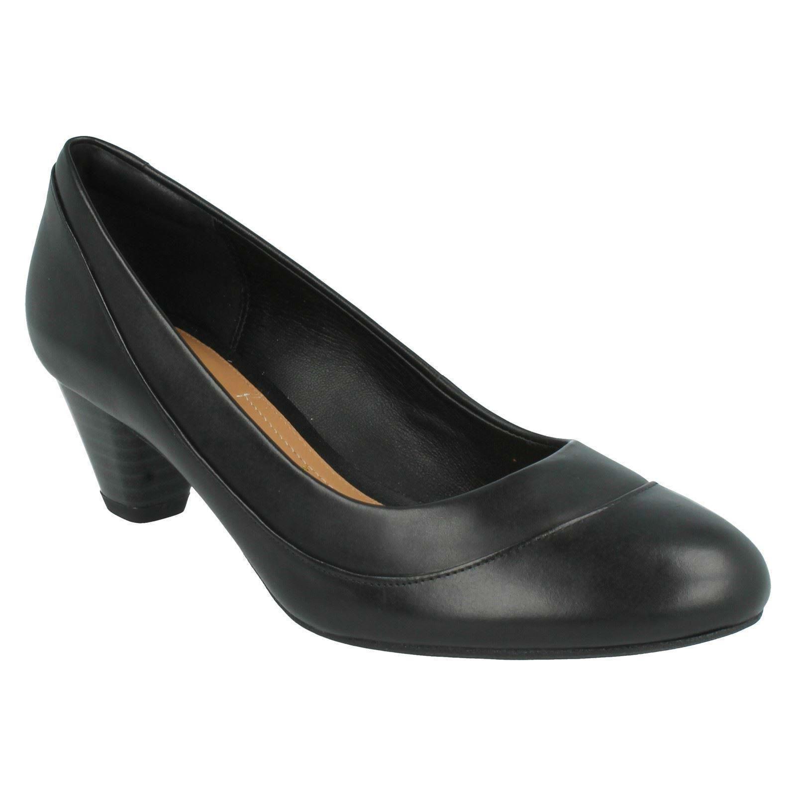 DENNY HARBOUR LADIES CLARKS SLIP ON MID HEEL WIDE FIT LEATHER SMART COURT Schuhe