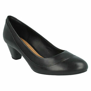 Details about DENNY HARBOUR LADIES CLARKS SLIP ON MID HEEL WIDE FIT LEATHER SMART COURT SHOES